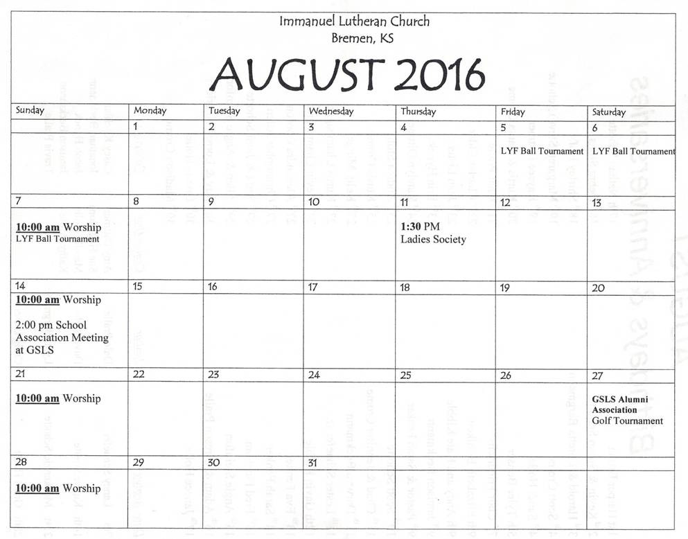 august 2016 calendar. Black Bedroom Furniture Sets. Home Design Ideas